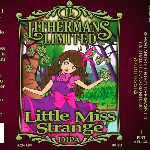 "A fresh batch of ""Little Miss Strange"" DIPA will be on tap in the tasting room starting this Thursday. #howmuchcanyoucarry #nhbeer #concordnhbrewed  #lithermanslimited #MHPlikes IPA"