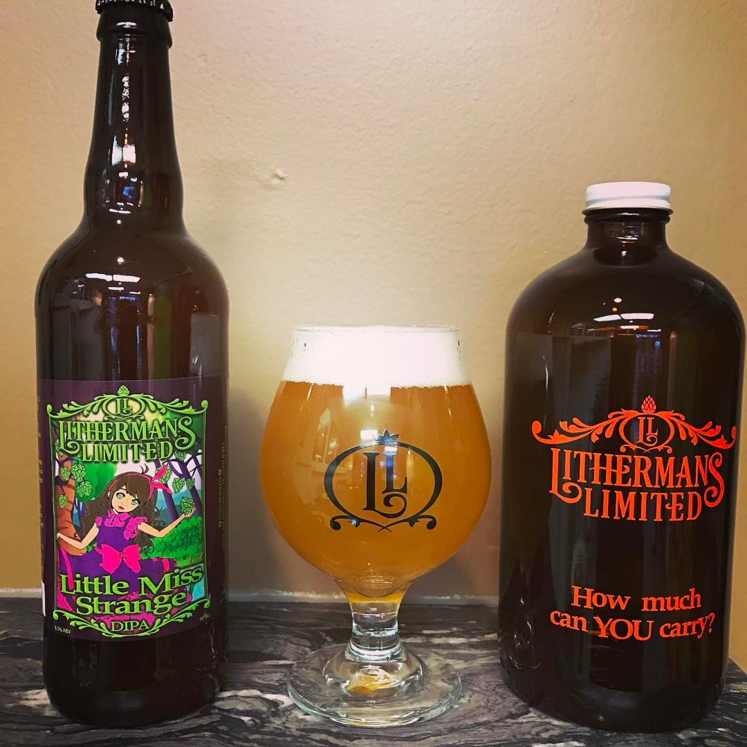 Little Miss Strange DIPA is back! Available in 22oz bottles and on tap for Growler fills. #concordnhbrewed #howmuchcanyoucarry #lithermans #nhbeer #MHPlikes hazy IPA