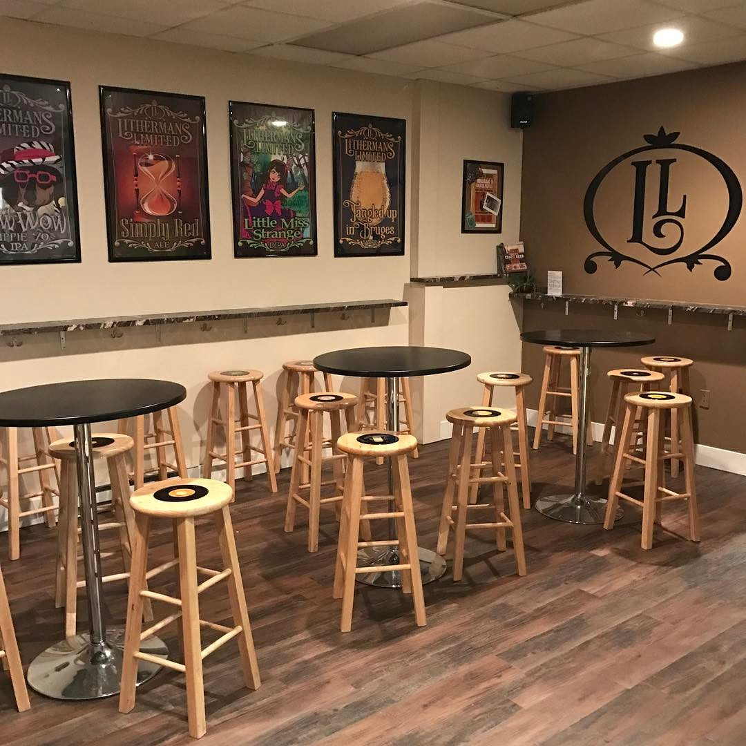 Open today from 4-7pm! Nine beers on tap! Flights and growlers as well as Simply Red Ale, Tangled Up In Bruges and Little Miss Strange available in Bottles. #howmuchcanyoucarry #lithermans #concordnhbrewed #nhbeer #concordnh #MHPlikes new flooring.