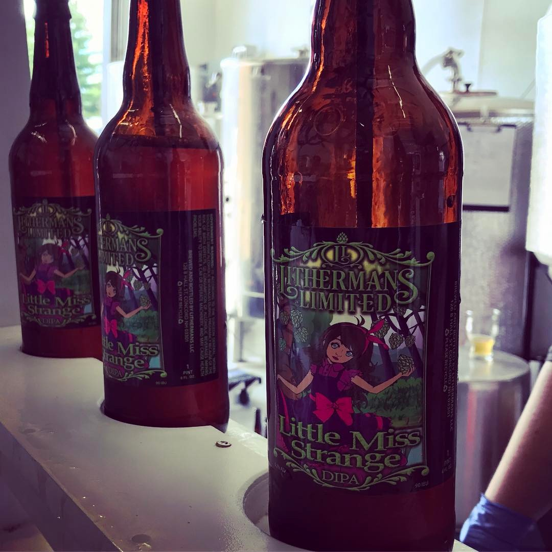 Little Miss Strange DIPA is back on tap in the tasting room and available in 22oz bottles. #lithermans #HowMuchCanYouCarry #concordNHbrewed