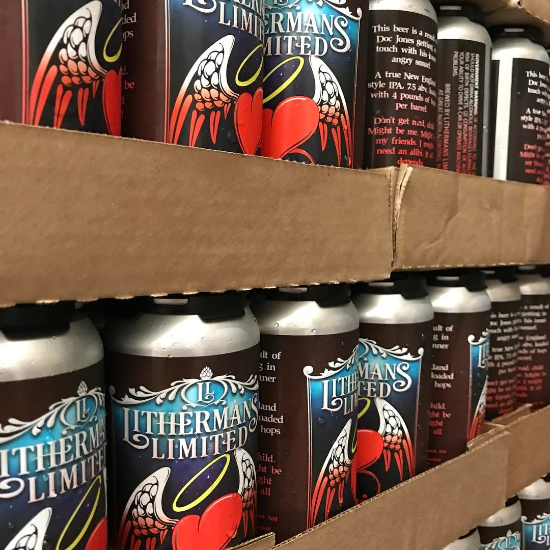 Did you get your cans of Misguided Angel yet? We open at 4pm today! #HowMuchCanYouCarry #lithermans #nhbeer #neipa #concordnh