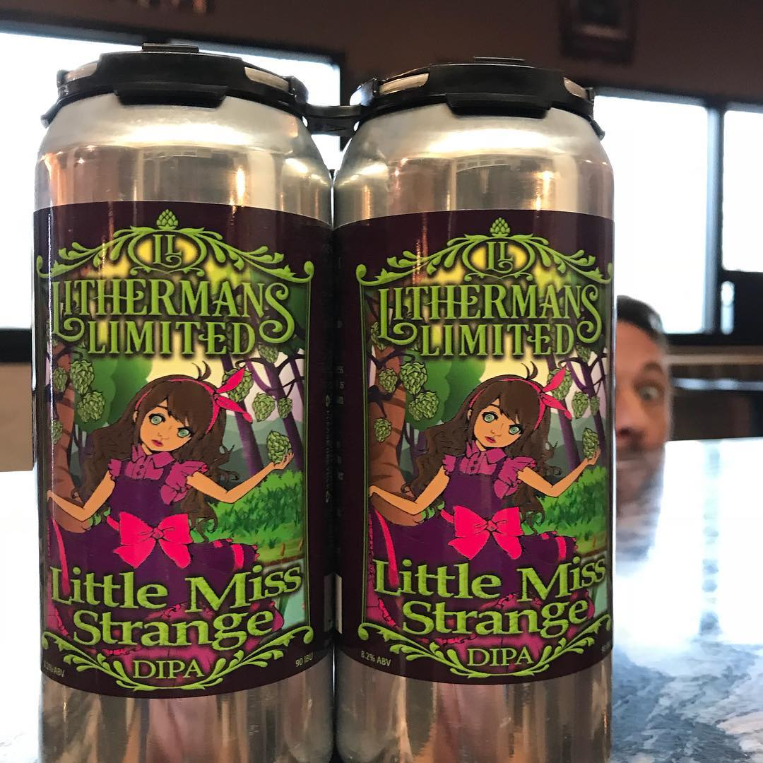 Yes, that is Little Miss Strange DIPA in cans! They go on sale today. We are open from 12-7pm. Two 4 pack limit per person. #lithermanslimited #concordnh #nhbeer #littlemissstrange