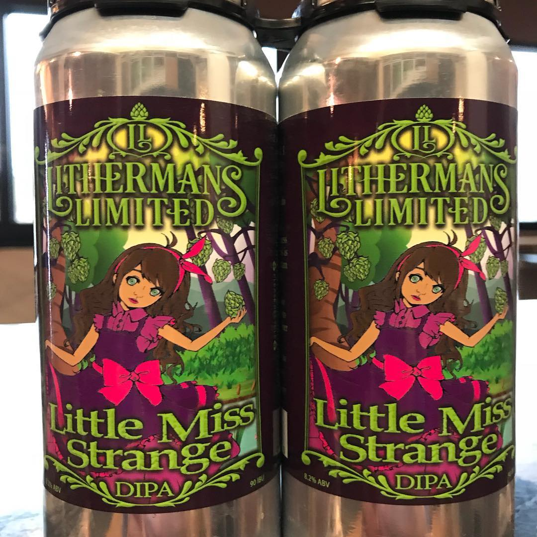 It's back! Cans of Little Miss Strange DIPA go on sale starting Thursday at 4pm. Get it while it lasts! #lithermanslimited #concordnh #nhbrewers #nhbeer #littlemissstrange