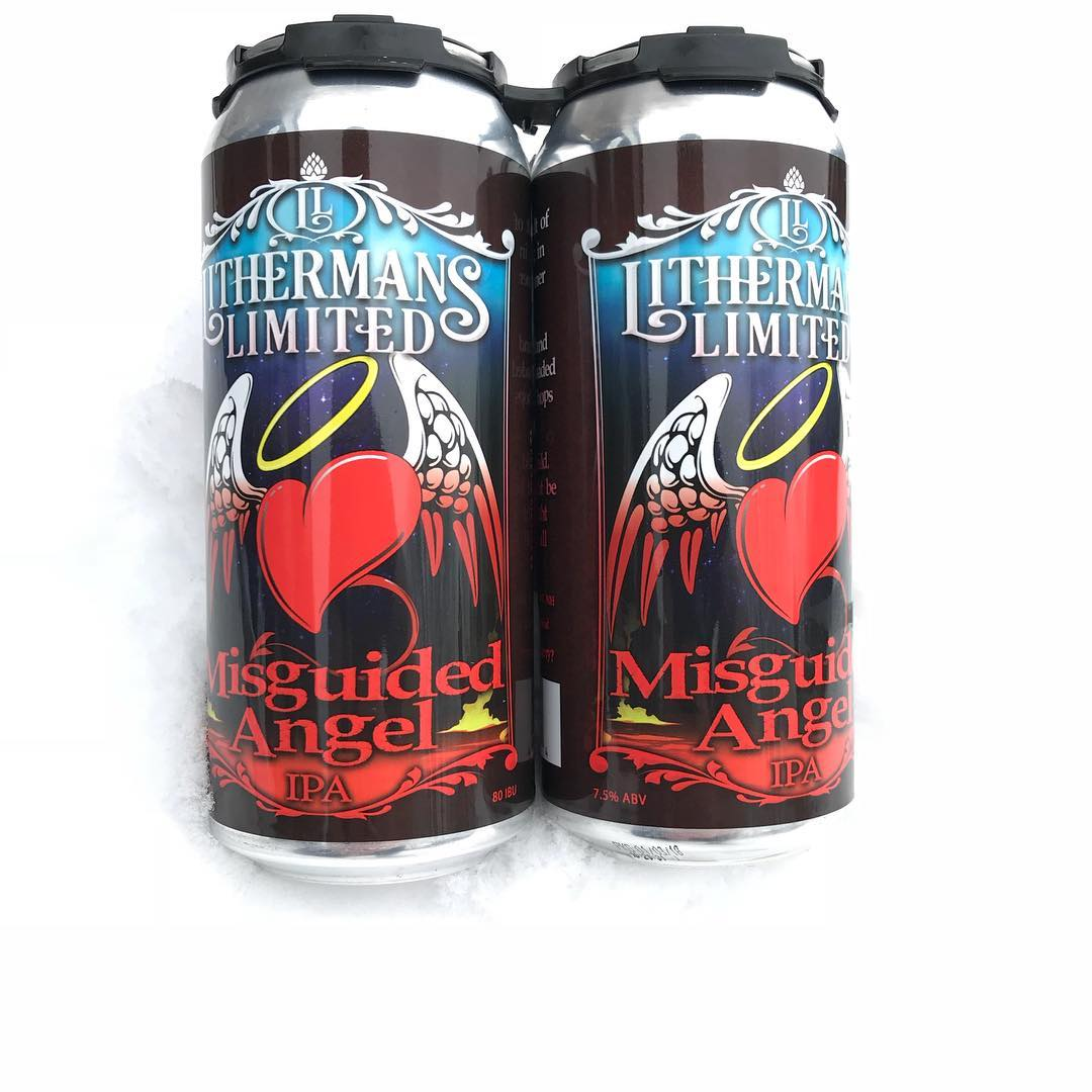 We are starting off the week with 22 cases of Misguided Angel cans. Make sure to get yours for the game on Sunday before we sell out. Tasting room opens at 4 PM Thursday. #lithermanslimited #misguidedangel