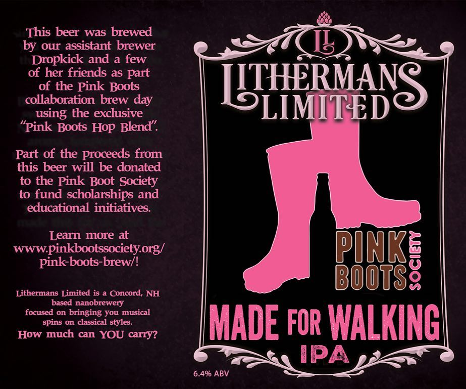 "We will be releasing ""MADE FOR WALKING IPA"" in collaboration with the Pink Boots Society.  This is our amazing assistant-brewer Dropkick's first solo recipe design and brew, and you won't want to miss it! We will also be releasing cans of ""MISGUIDED ANGEL"" and ""MILLI BANILLI"" porter. Cheers!  #pinkbootsbrew2018 #pbb2018"