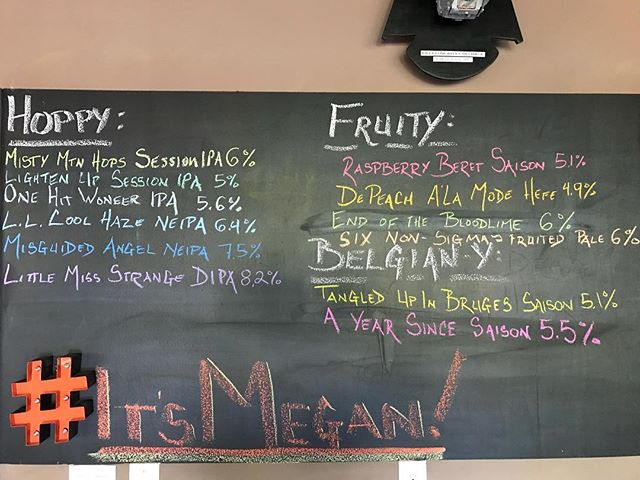 Today's tap list! Open 12-7pm!