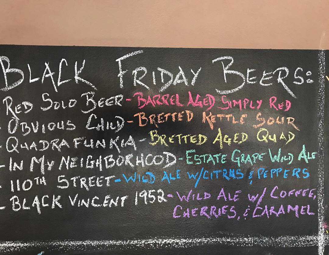 We are open extended hours on Black Friday from 12-8pm. We also will be tapping some of these small batch wonders during the day!